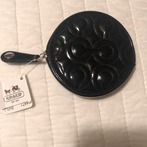 Coach patent black coin purse